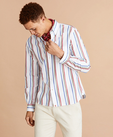 Multi-Color Stripe Cotton Broadcloth Shirt