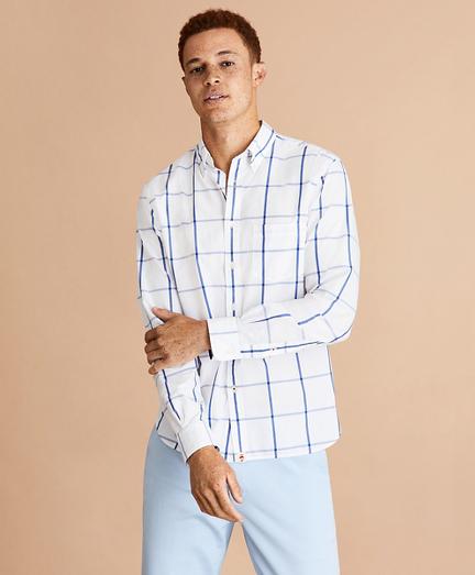 Windowpane Cotton Broadcloth Shirt