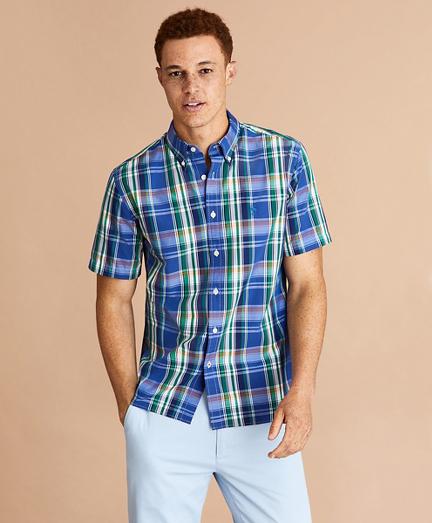 Plaid Cotton Broadcloth Short-Sleeve Shirt