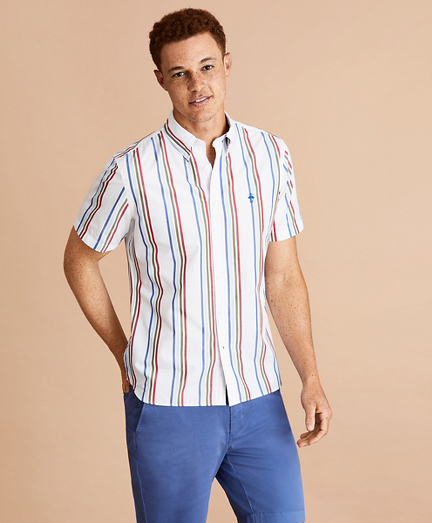 Multi-Color Stripe Cotton Broadcloth Short-Sleeve Shirt