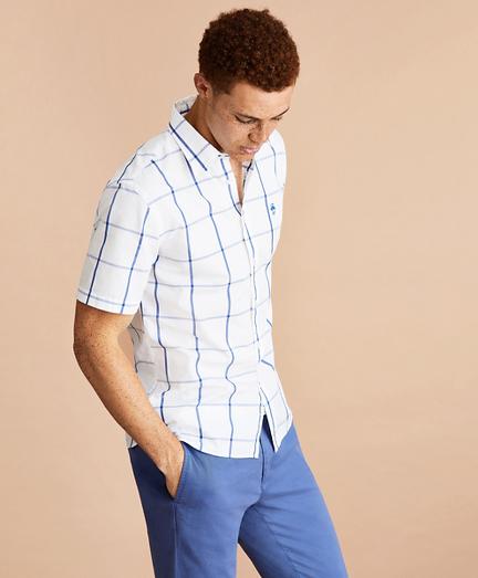 Windowpane Cotton Broadcloth Short-Sleeve Shirt