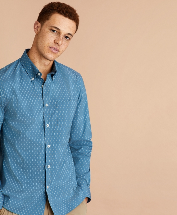 Performance Series Cactus Print Poplin Shirt Navy
