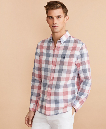 Checkered Linen-Cotton Poplin Shirt