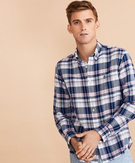 Plaid Linen-Cotton Poplin Shirt