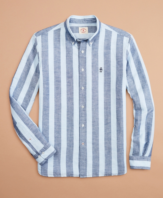 Striped Linen-Cotton Poplin Shirt Blue