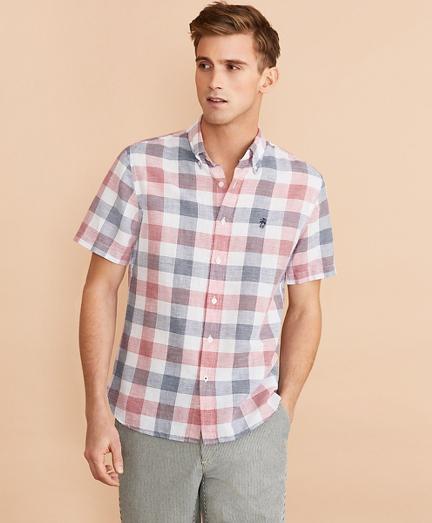 Checkered Linen-Cotton Short-Sleeve Shirt