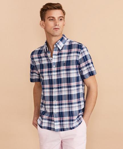 Plaid Linen-Cotton Short-Sleeve Shirt