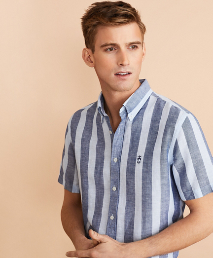 Striped Linen-Cotton Short-Sleeve Shirt