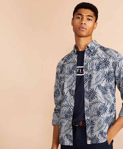 Indigo Striped Palm Print Shirt