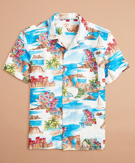 Coastal-Print Linen-Cotton Camp Collar Short-Sleeve Shirt