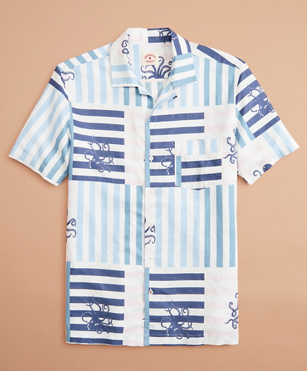 Octopus-Print Linen-Cotton Camp Collar Short-Sleeve Shirt