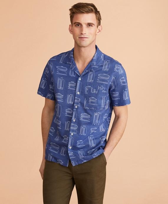 Surfboard-Print Linen-Cotton Camp Collar Short-Sleeve Shirt Blue
