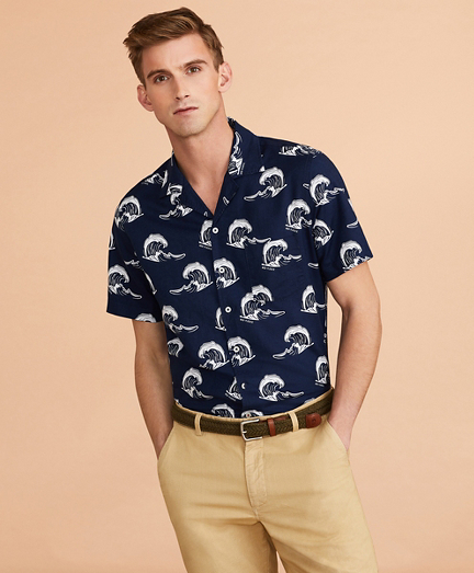 Wave-Print Linen-Cotton Camp Collar Short-Sleeve Shirt