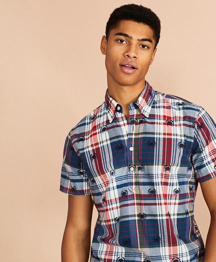 Crab-Print Madras Popover Shirt Short-Sleeve