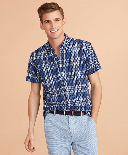 Seahorse-Print Madras Popover Shirt Short-Sleeve