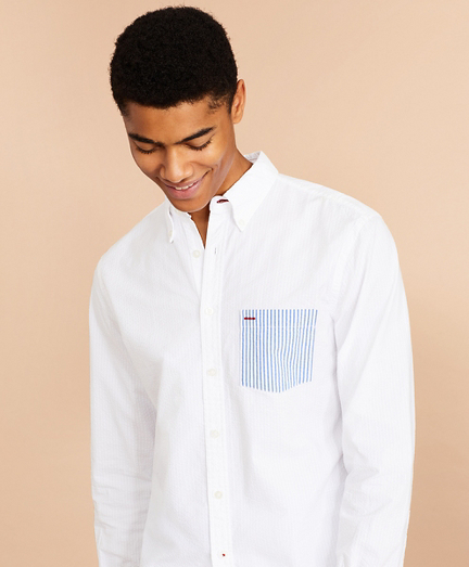 Seersucker Striped-Pocket Shirt