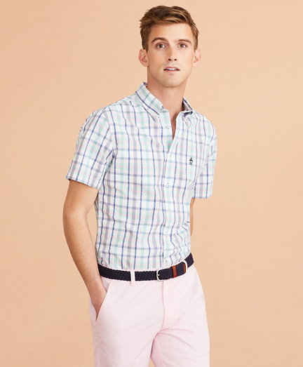 Plaid Seersucker Short-Sleeve Shirt