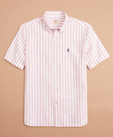 Broad Striped Seersucker Short-Sleeve Shirt