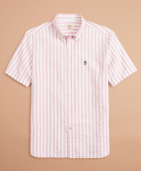 Broad Striped Seersucker Short-Sleeve Shirt Pink