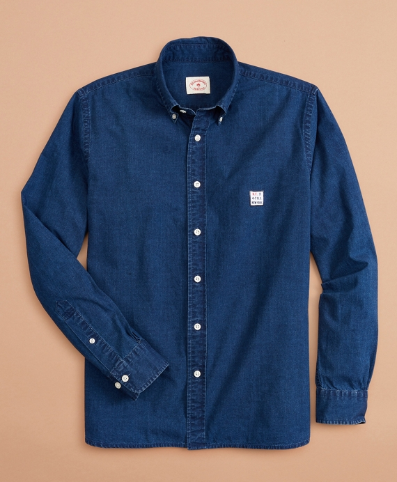 Limited-Edition Red Fleece Chambray Shirt Dark Wash