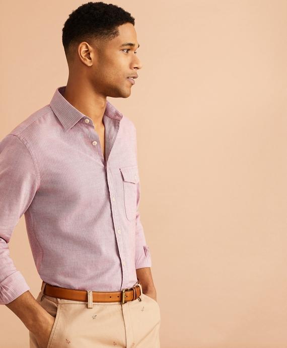 Brushed Herringbone Striped Cotton Shirt Ruby