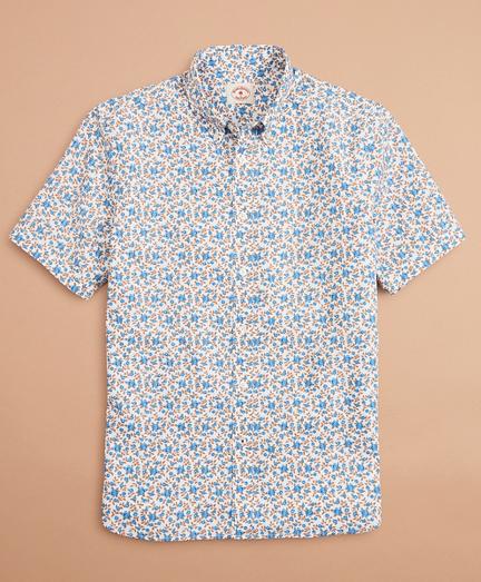 Floral-Print Poplin Short-Sleeve Shirt