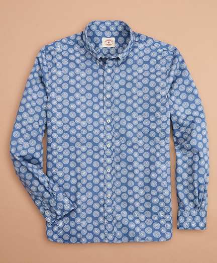 Geometric Flower-Print Poplin Shirt