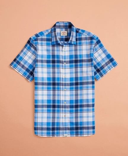 Plaid Lightweight Herringbone Short-Sleeve Shirt