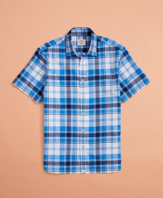 Plaid Lightweight Herringbone Short-Sleeve Shirt Blue