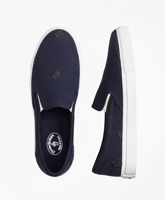 Medallion-Embroidered Slip-On Sneakers Navy
