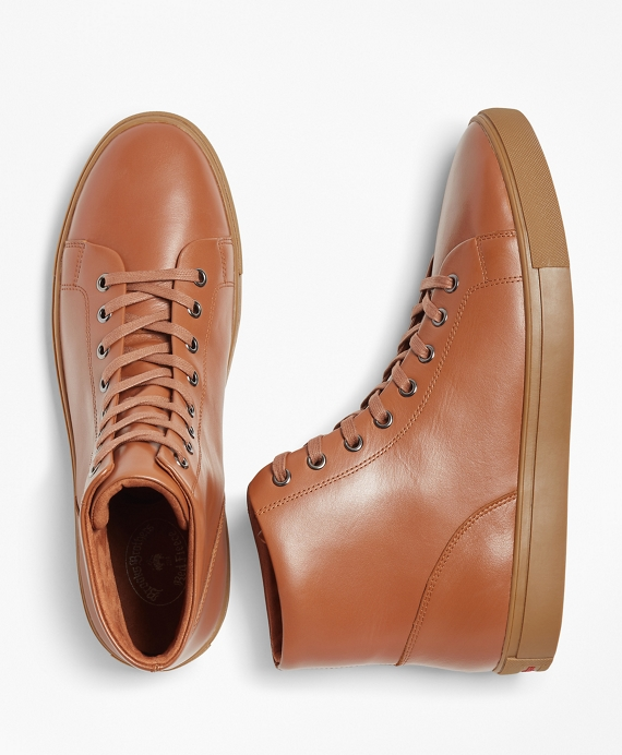 Leather High-Top Sneakers Cognac