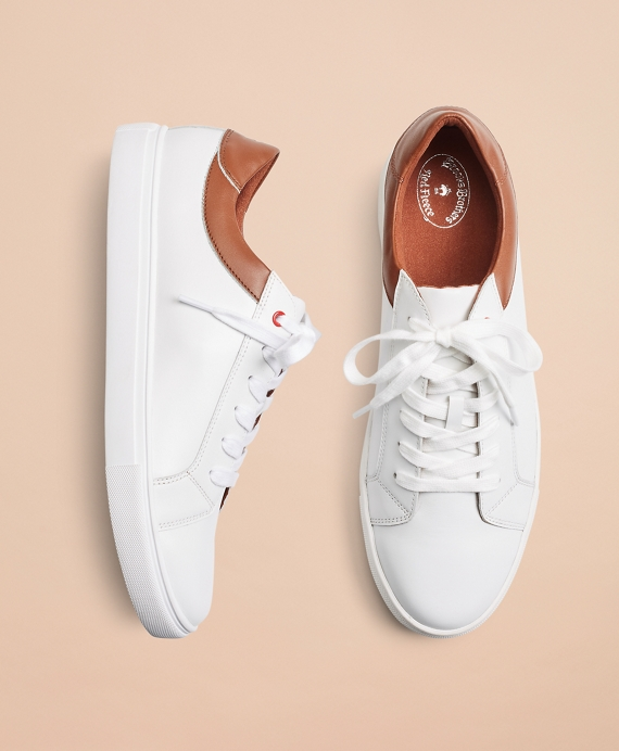 White Contrast Leather Sneakers White