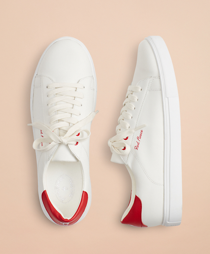 Tonal Red Fleece Leather Sneakers
