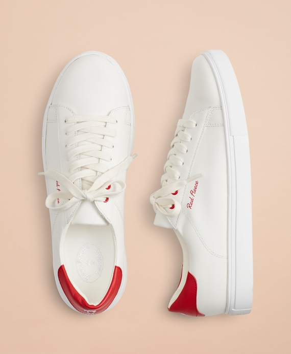 Tonal Red Fleece Leather Sneakers White