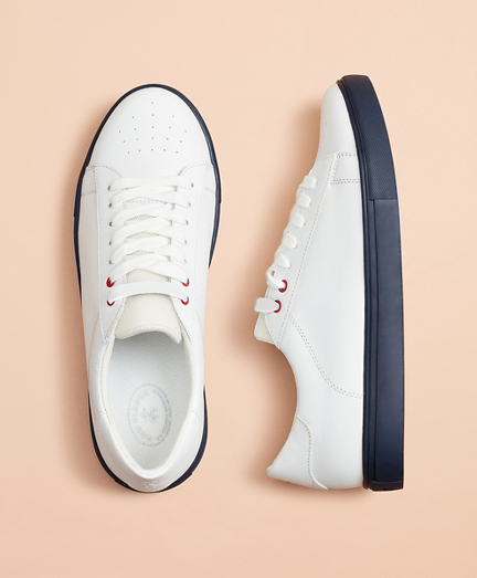 Color-Contrast Leather Sneakers