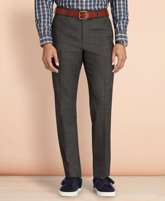 Tick-Weave Wool-Cotton Trousers Grey