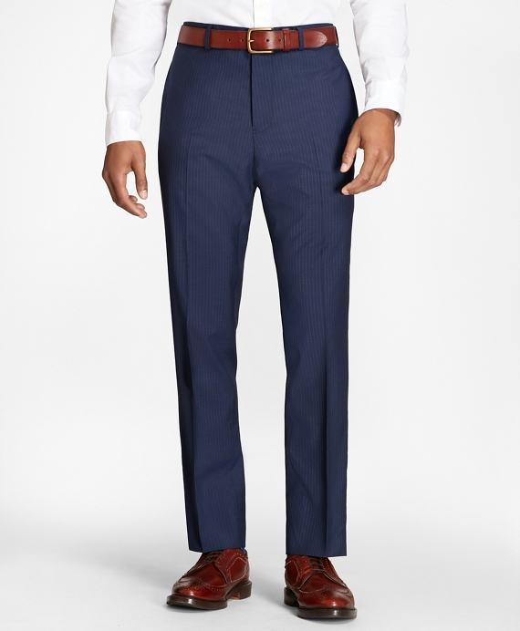 Pinstripe Wool Suit Trousers Blue
