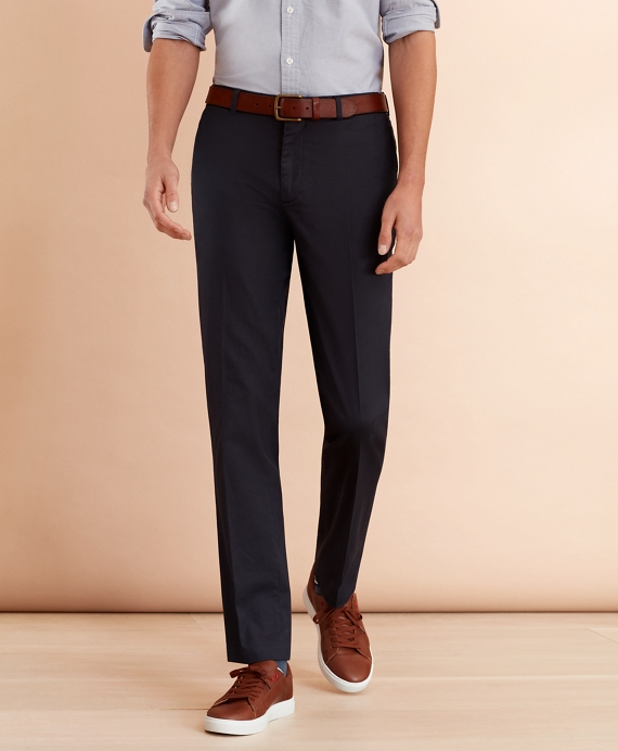 Stretch Cotton Twill Trousers Navy