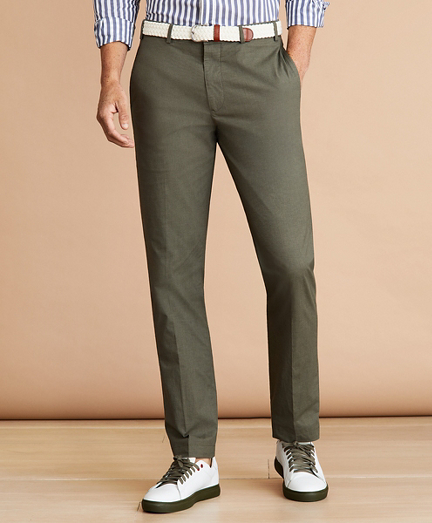 Cotton Plain-Front Trousers