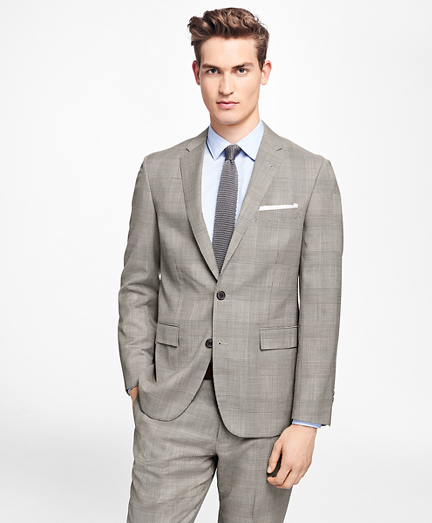 Plaid Stretch-Wool Suit Jacket