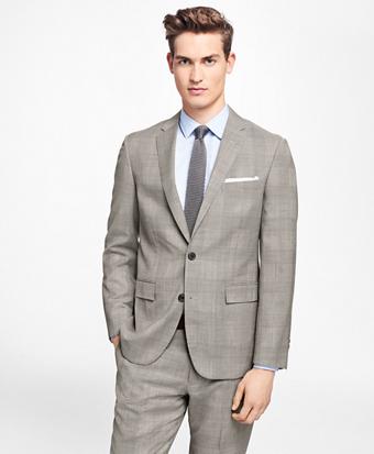 Plaid Stretch-Wool Suit Jacket