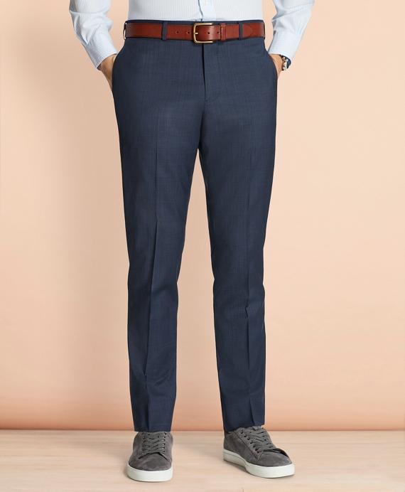 Tick-Weave Wool Suit Trousers Navy