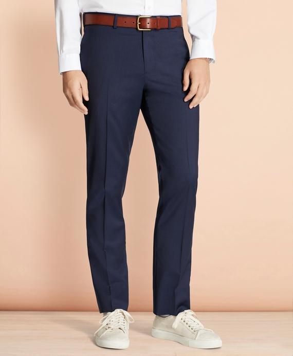 Alternating Pinstripe Wool Suit Trousers Navy