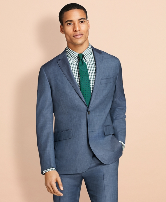 Sharkskin Wool Suit Jacket Blue