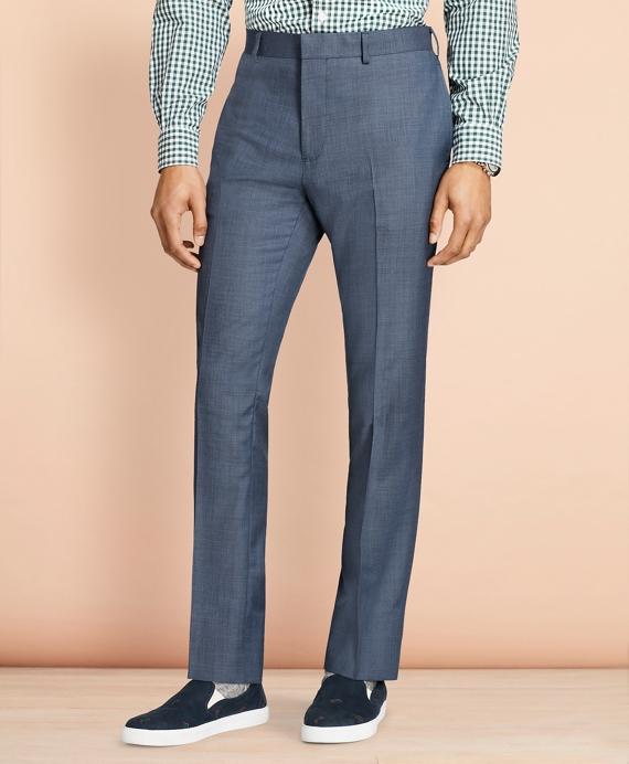 Sharkskin Wool Suit Trousers Blue