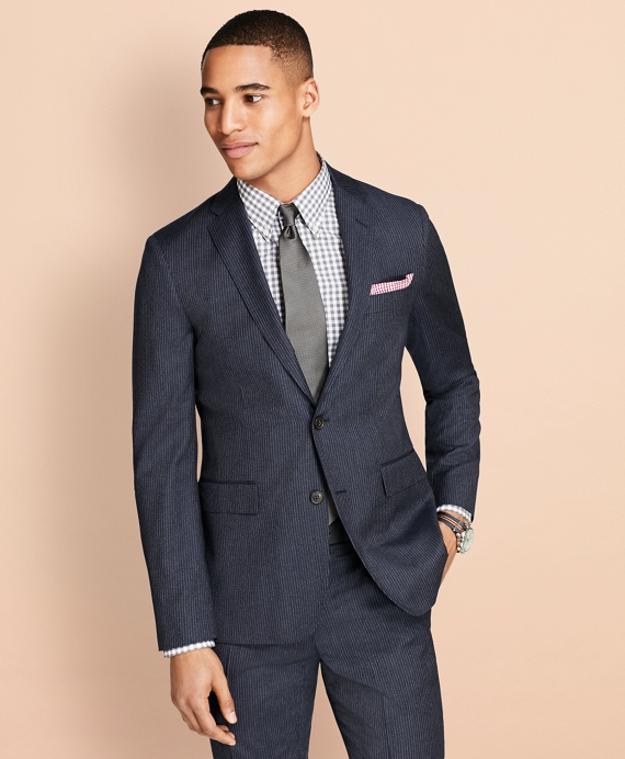 Pinstripe Wool Suit Jacket Navy