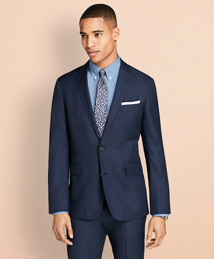 Windowpane Wool Suit Jacket