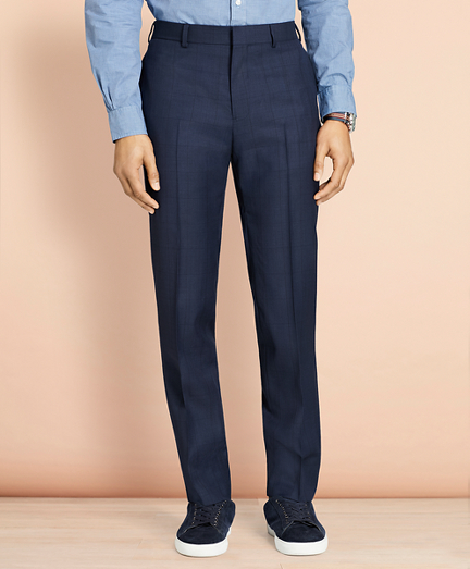 Windowpane Wool Trousers