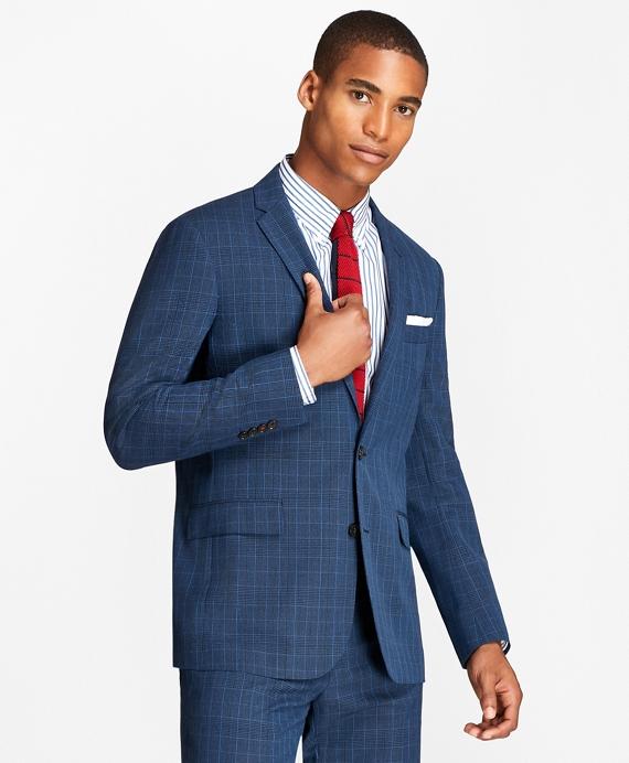 Plaid Wool Suit Jacket Blue
