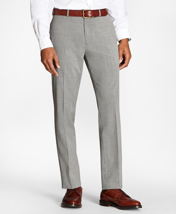 Houndscheck Wool Suit Trousers Black-White
